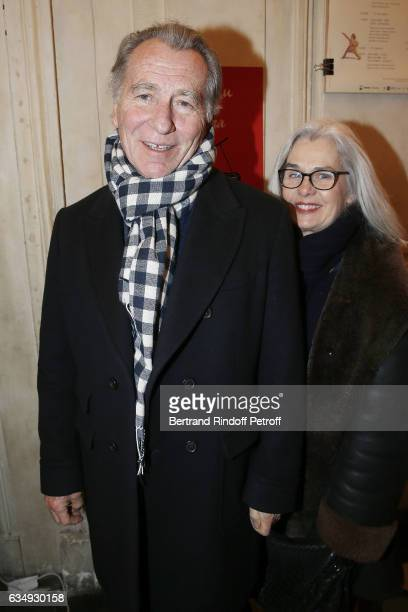 Presenter William Leymergie and his wife Maryline attend 'Depardieu chante Barbara' at Theatre des Bouffes du Nord on February 11 2017 in Paris France