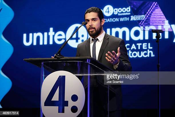 Presenter Wilmer Valderamma speaks onstage at the 2nd Annual unite4humanity presented by ALCATEL ONETOUCH at the Beverly Hilton Hotel on February 19...