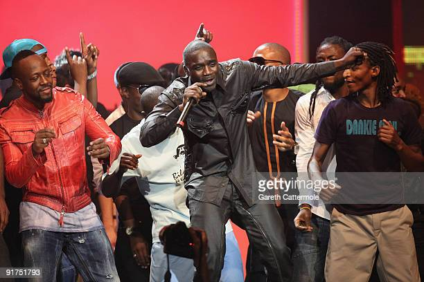 Presenter Wyclef Jean and Akon perform on stage at the MTV Africa Music Awards with Zain at the Moi International Sports Centre on October 10 2009 in...