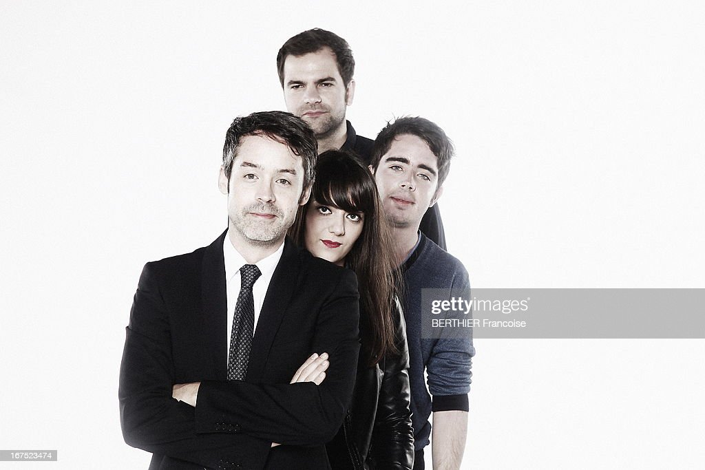 TV presenter Yann Barthe poses with his team Eric Metzeger, Quentin Margot, Marie Bousquet on April 10, 2013 in Paris, France.