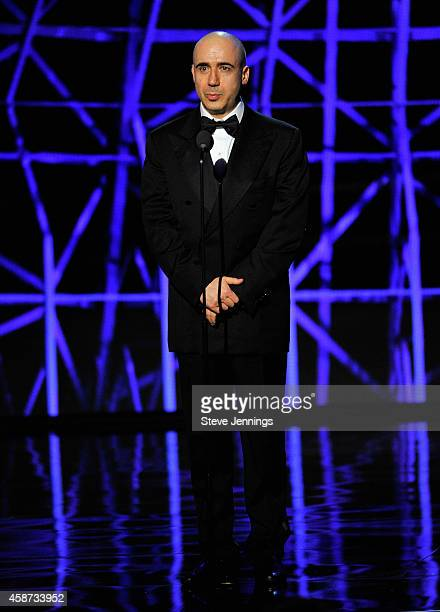 Presenter Yuri Milner speaks onstage during the Breakthrough Prize Awards Ceremony Hosted By Seth MacFarlane at NASA Ames Research Center on November...