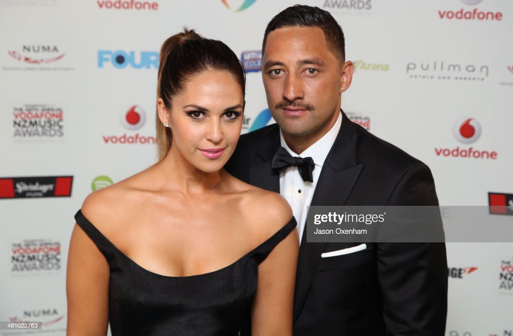 Presenter Zoe Marshall (L) and Benji Marshall during the New Zealand Music Awards at XXX on November 21, 2013 in Auckland, New Zealand.