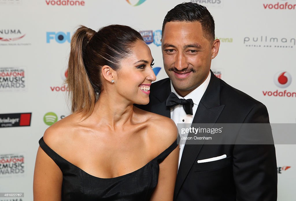 Presenter Zoe Marshall(L) and Benji Marshall during the New Zealand Music Awards at XXX on November 21, 2013 in Auckland, New Zealand.