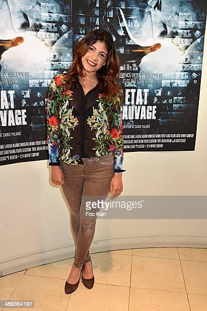 TV presenter/actress Donia Eden attends 'L'Etat Sauvage' Paris Premiere at Cinema Arlequin on April 23 2014 in Paris France