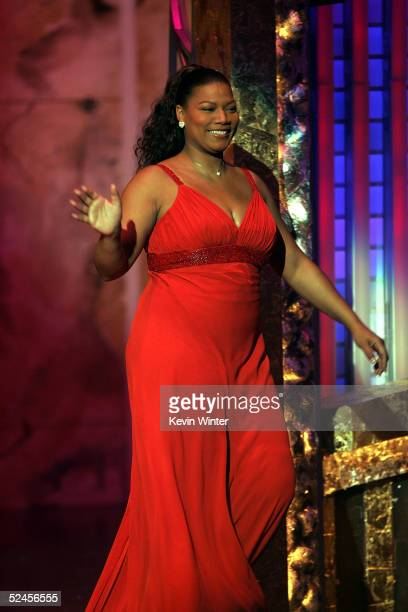 Presenter/actress Queen Latifah is seen on stage at the 36th NAACP Image Awards at the Dorothy Chandler Pavilion on March 19 2005 in Los Angeles...