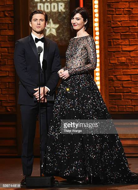 Presenters Aaron Tveit and Mary Elizabeth Winstead onstage during the 70th Annual Tony Awards at The Beacon Theatre on June 12 2016 in New York City