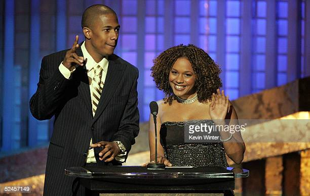Presenters actor Nick Cannon and Rachel True are seen on stage at the 36th NAACP Image Awards at the Dorothy Chandler Pavilion on March 19 2005 in...