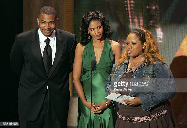 Presenters actor Omar Gooding Kimberly Elise and singer Kierra KiKi Sheard are seen onstage at the 10th Annual Soul Train Lady of Soul Awards held at...