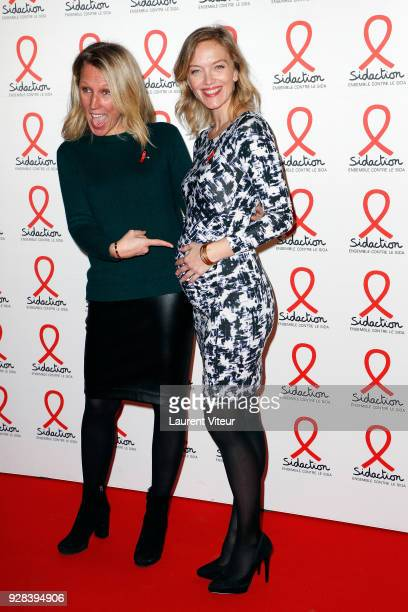 Presenters Agathe Lecaron and Maya Lauque attend Sidaction 2018 Launch at Musee du Quai Branly on March 5 2018 in Paris France