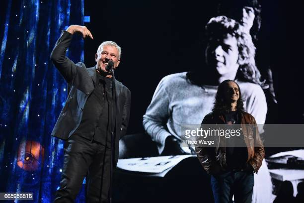 Presenters Alex Lifeson and Geddy Lee of Rush speak onstage at the 32nd Annual Rock Roll Hall Of Fame Induction Ceremony at Barclays Center on April...