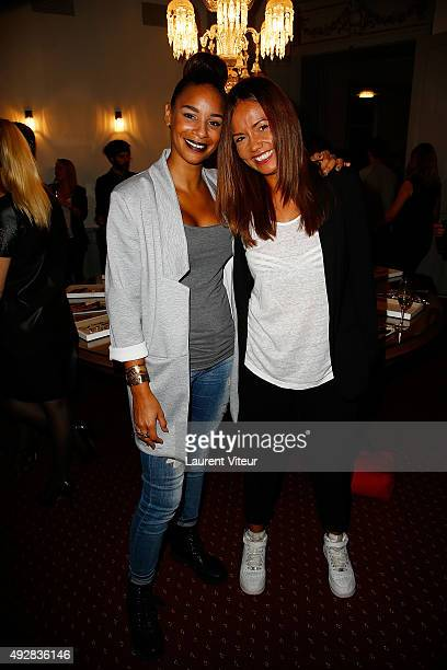 Presenters Alicia Fall and Karine Arsene attends the Stella Dot Cocktail Party To Benefit Octobre Rose on October 15 2015 in Paris France