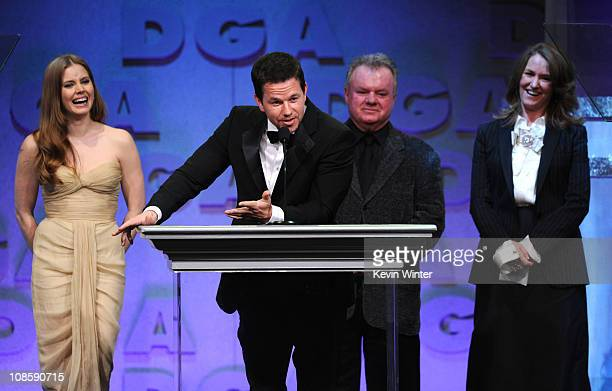 Presenters Amy Adams Mark Wahlberg Jack McGee and Melissa Leo onstage at the 63rd Annual Directors Guild Of America Awards held at the Grand Ballroom...