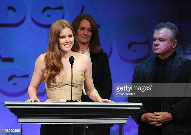 Presenters Amy Adams Melissa Leo and Jack McGee onstage at the 63rd Annual Directors Guild Of America Awards held at the Grand Ballroom at Hollywood...