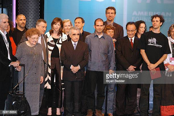 Presenters and winners gather on stage at the Third Annual Tribeca Film Festival Awards Ceremony May 9 2004 in New York City