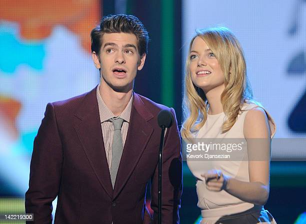 Presenters Andrew Garfield and Emma Stone speak onstage at Nickelodeon's 25th Annual Kids' Choice Awards held at Galen Center on March 31 2012 in Los...