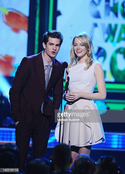 Presenters Andrew Garfield and Heidi Klum speak onstage at Nickelodeon's 25th Annual Kids' Choice Awards held at Galen Center on March 31 2012 in Los...