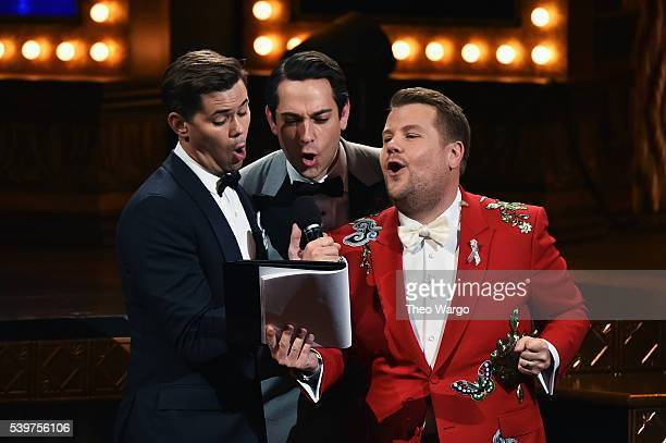 Presenters Andrew Rannells Zachary Levi and James Corden speak onstage during the 70th Annual Tony Awards at The Beacon Theatre on June 12 2016 in...