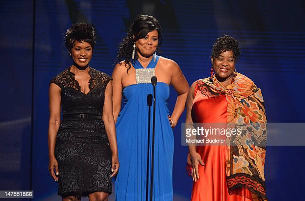 Presenters Angela Bassett; Lela Rochon and Loretta Devine speak onstage during the 2012 BET Awards at The Shrine Auditorium on July 1, 2012 in Los...