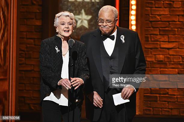 Presenters Angela Lansbury and James Earl Jones speak onstage during the 70th Annual Tony Awards at The Beacon Theatre on June 12 2016 in New York...