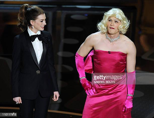 Presenters Anne Hathaway and James Franco in drag appear on stage during the 83rd annual Academy Awards at the Kodak Theater in Hollywood on February...