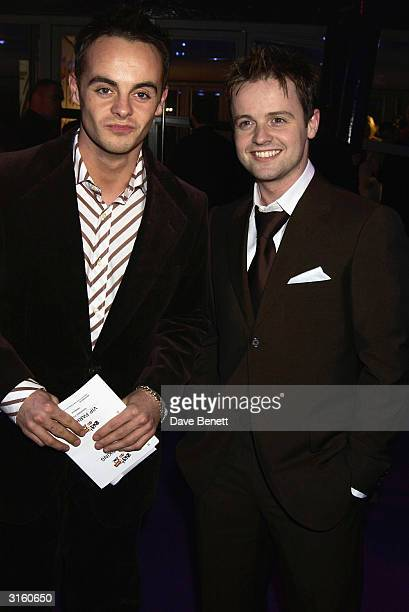 TV presenters Ant and Dec arrive at the 2002 Brit Awards held at Earls Court on February 20th 2002 in London