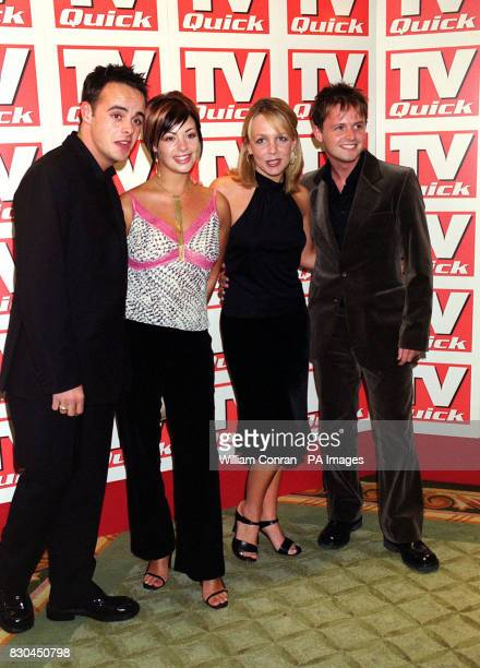 TV presenters Ant McPartlin and Declan Donnelly with their girlfriends Lisa Armstrong and actress Claire Buckfield at the TV Quick Awards held at the...