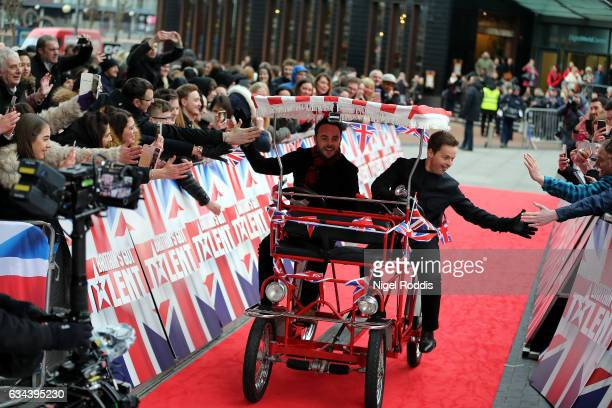 Presenters Anthony Mc Partlin and Declan Donnelly arrive for the Britain's Got Talent Manchester auditions on February 9 2017 in Manchester United...