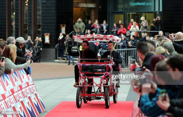 Presenters Anthony McPartlin and Declan Donnelly arrive for the Britain's Got Talent Manchester auditions on February 9 2017 in Manchester United...