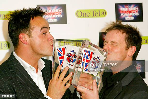Presenters Anthony McPartlin and Declan Donnelly pose with the awards for Best Comedy Entertainment Personality and Best Comedy Entertainment...