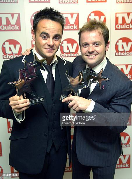 Presenters Anthony McPartln and Declan Donnelly receive the award for Best Entertainment Show 'Saturday Night Takeaway' at the TV Quick TV Choice...