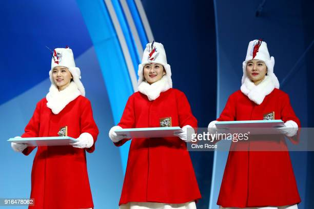 Presenters are seen during the Medal Ceremony for the CrossCountry Skiing Ladies' 75km 75km Skiathlon on day one of the PyeongChang 2018 Winter...