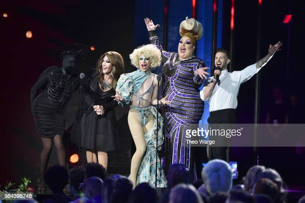 Presenters Asia O'Hara Kameron Michaels Aquaria Eureka O'Hara and Nico Tortorella speak on stage during VH1 Trailblazer Honors 2018 at The Cathedral...