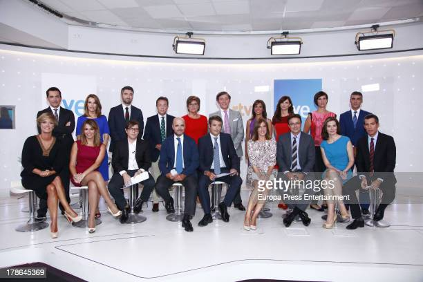 TVE presenters attend the presentation of the new season of Spanish channel 'TVE News' on August 29 2013 in Madrid Spain