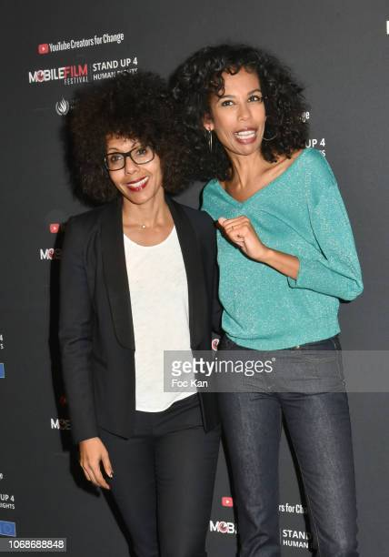 TV presenters Audrey Pulvar and Elisabeth Tchoungui attend the 'Mobile Film Festival Stand Up 4 Human Rights Awards' Ceremony Hosted by Youtube...