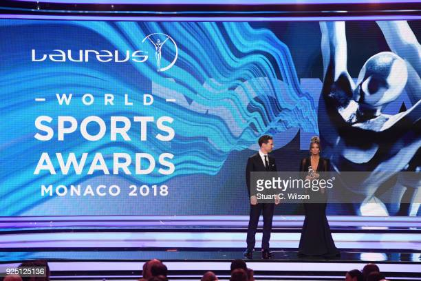 Presenters Benedict Cumberbatch and Kate Abdo during the 2018 Laureus World Sports Awards show at Salle des Etoiles Sporting MonteCarlo on February...