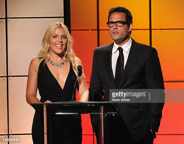 Presenters Busy Philipps and Josh Hopkins speak onstage during The Broadcast Television Journalists Association Second Annual Critics' Choice Awards...