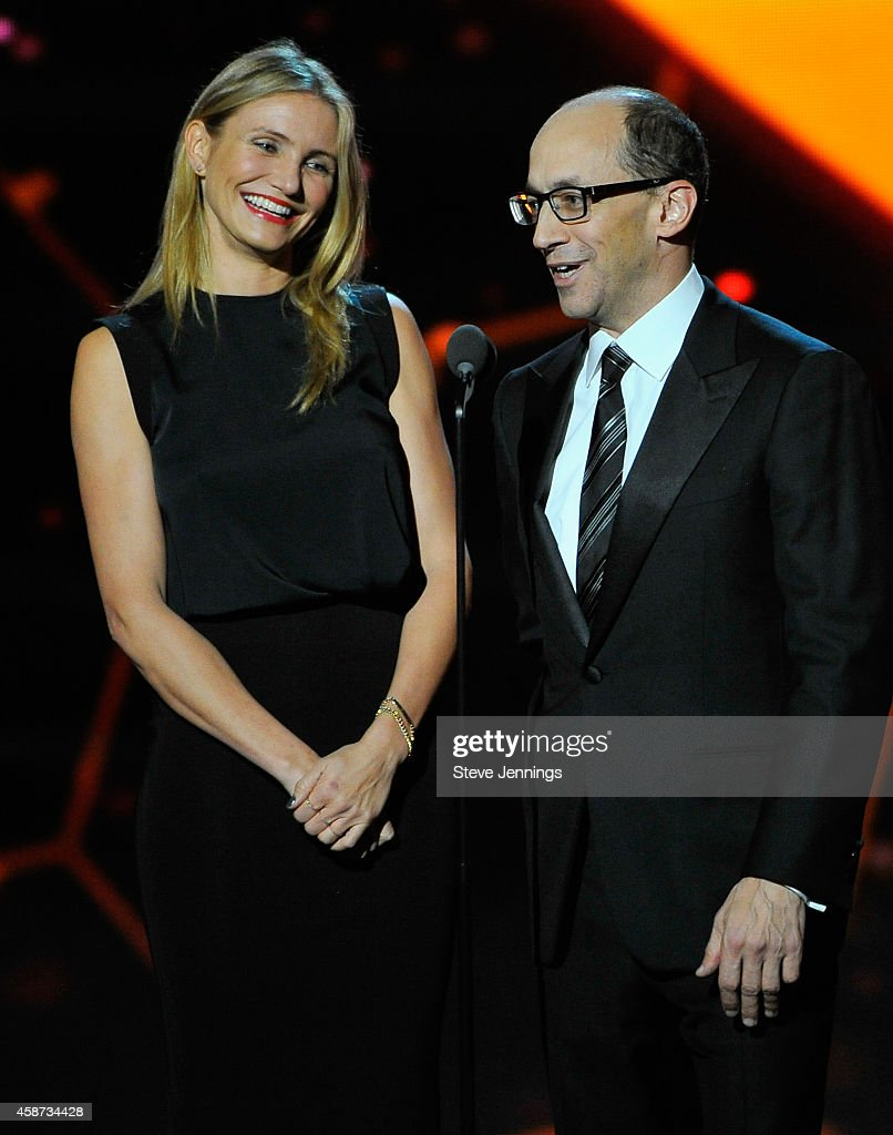 Presenters Cameron Diaz and Dick Costolo (R) speak onstage during the Breakthrough Prize Awards Ceremony Hosted By Seth MacFarlane at NASA Ames Research Center on November 9, 2014 in Mountain View, California.
