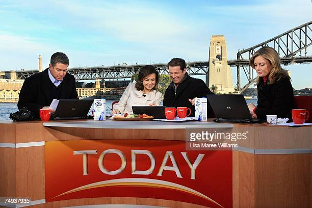Presenters Cameron Williams Lisa Wilkinson Karl Stefanovic and Allison Langdon live onair as part of the Today Show 25th birthday celebrations...