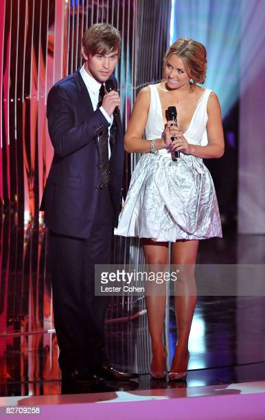 Presenters Chace Crawford and Laurel Conrad on stage at the 2008 MTV Video Music Awards at Paramount Pictures Studios on September 7 2008 in Los...