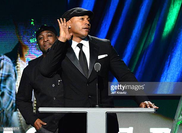 Presenters Chuck D and LL Cool J on stage at the 27th Annual Rock And Roll Hall Of Fame Induction Ceremony at Public Hall on April 14 2012 in...