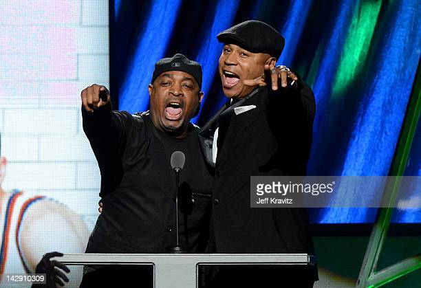 Presenters Chuck D and LL Cool J speak on stage at the 27th Annual Rock And Roll Hall Of Fame Induction Ceremony at Public Hall on April 14 2012 in...