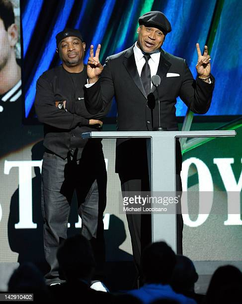 Presenters Chuck D and LL Cool J speak onstage during the 27th Annual Rock And Roll Hall of Fame Induction Ceremony at Public Hall on April 14 2012...