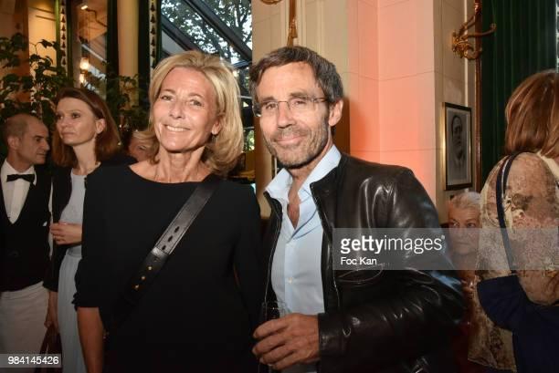 TV presenters Claire Chazal and David Pujadas attend 'L'Ete Litteraire Des Deux Magots ' Book Signing Cocktail at Les Deux Magots Cafe on June 25...