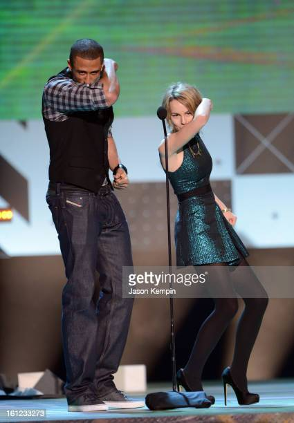 Presenters Colin Kaepernick and Bridgit Mendler attend the Third Annual Hall of Game Awards hosted by Cartoon Network at Barker Hangar on February 9...