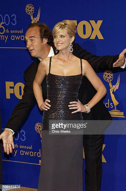 Presenters Courtney ThorneSmith and Jim Belushi during 55th Annual Primetime Emmy Awards Press Room at The Shrine Auditorium in Los Angeles...