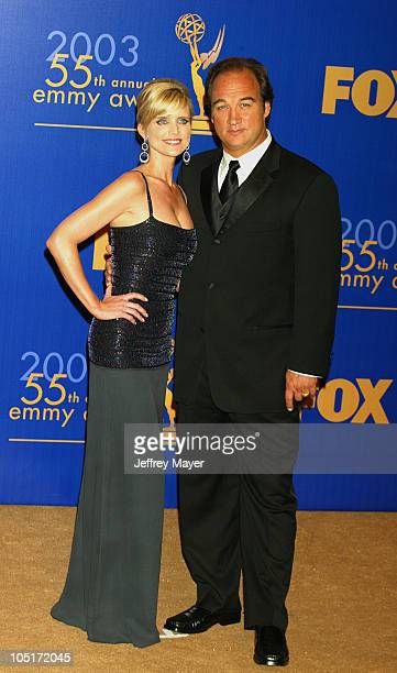 Presenters Courtney Thorne-Smith & Jim Belushi during The 55th Annual Primetime Emmy Awards - Press Room at The Shrine Theater in Los Angeles,...