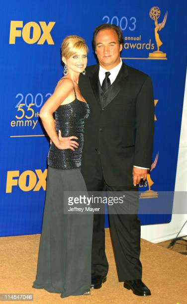 Presenters Courtney ThorneSmith Jim Belushi during The 55th Annual Primetime Emmy Awards Press Room at The Shrine Theater in Los Angeles California...