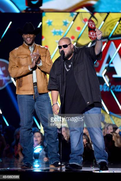 Presenters Cowboy Troy and Big Smo speak onstage during the American Country Awards 2013 at the Mandalay Bay Events Center on December 10, 2013 in...