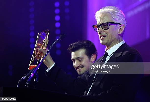 Presenters Craig Roberts and Elliot Grove are seen onstage as they present the Discovery Award at The Moet British Independent Film Awards 2015 at...