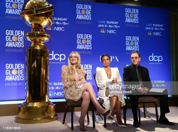 Presenters Dakota Fanning, Susan Kelechi Watson and Tim Allen attend the 77th Annual Golden Globe Awards Nominations Announcement at The Beverly...
